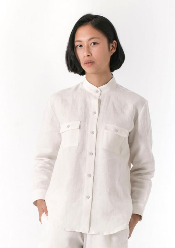 Good Studios Womens Hemp Linen Mandarin Collar Shirt