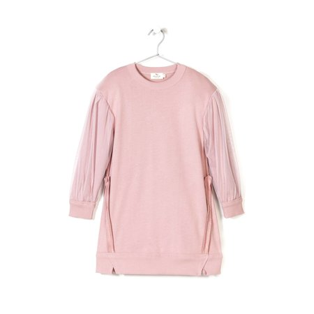 KIDS andorine tulle sleeve sweat dress - pink