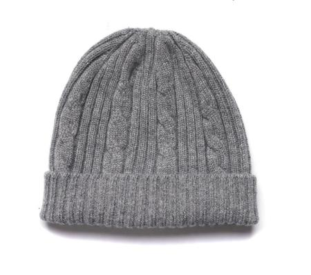 American Trench Cable Knit Cashmere Beanie - Gray