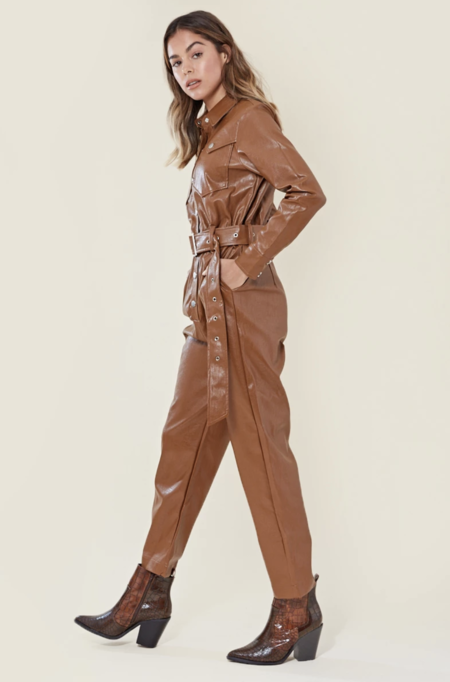 neon rose faux leather belted boilersuit