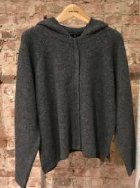 James Perse Cashmere Silk Cropped Full Zip Hoodie - Charcoal