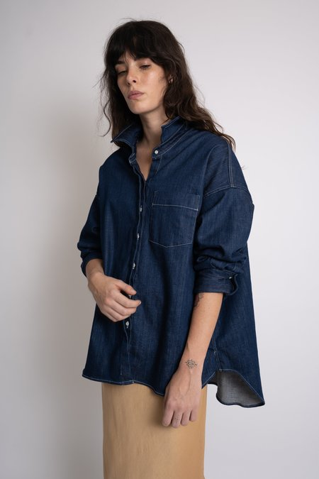 KES Oversized Oxford Shirt - Denim Indigo