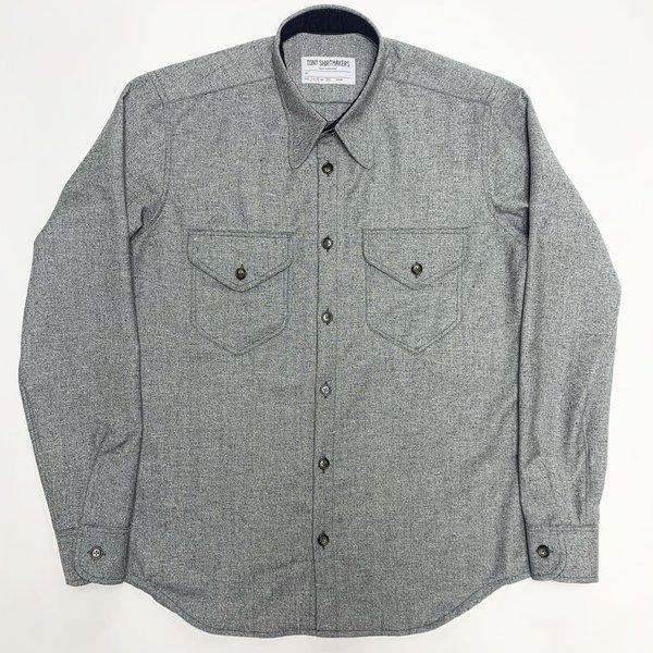 Tony Shirtmakers Atomic Fleck Silk Wool Double Flap Pockets Shirt