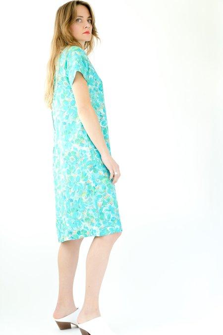 Backtalk PDX Vintage Floral 50s Dress - Vibrant blue and green shades