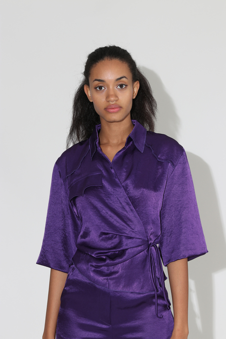 Nanushka Dalas Asymmetric Satin Wrap Top - Purple