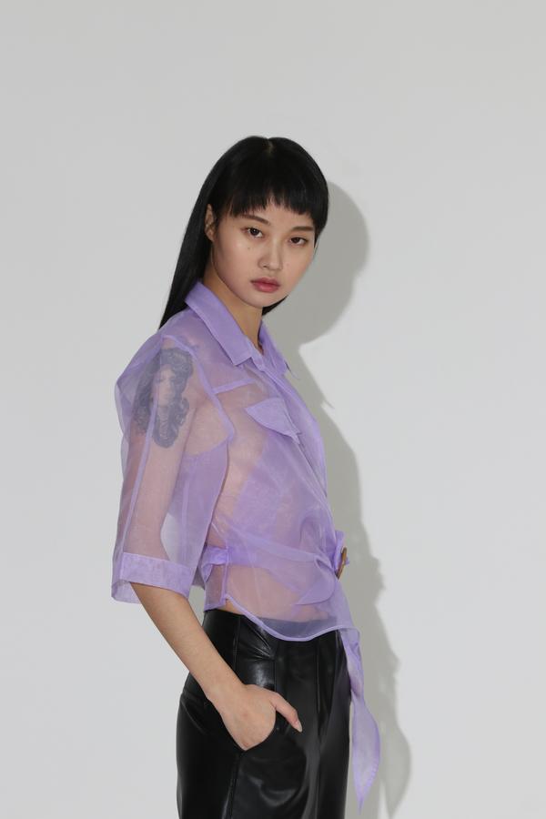 Nanushka Dalas Assymetric Wrap Top - Lilac
