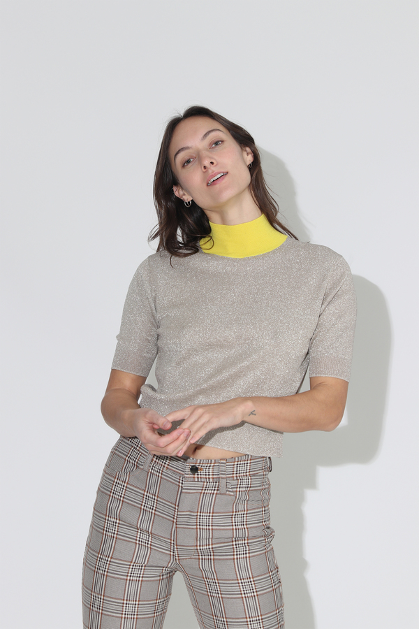 Rachel Comey Cropped Tee - Champagne Metallic Knit