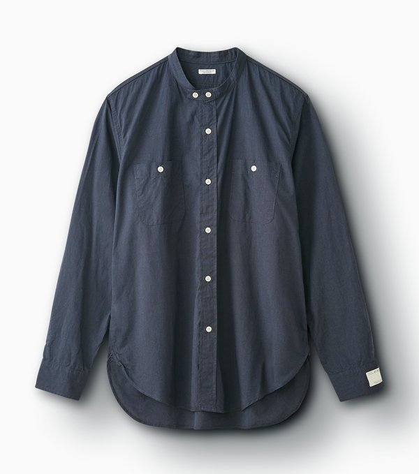 Phigvel Makers & Co. Long Band Collar Shirt - Steel Gray
