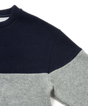 Sandinista MFG 2-Tone Wool Knit Top - Navy/Heather Gray