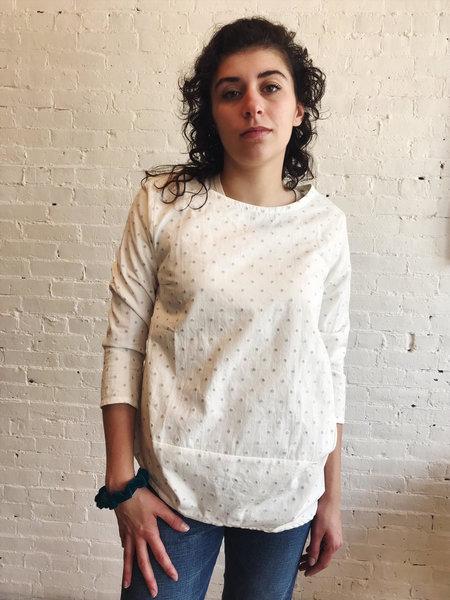 Échappées Belles Chemise Dadi Top - Off-White/Grey Dot