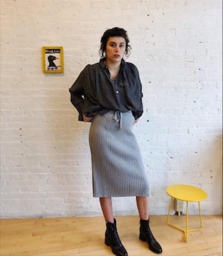 Kowtow Knitted Rib Straight Fit Skirt - Light Grey