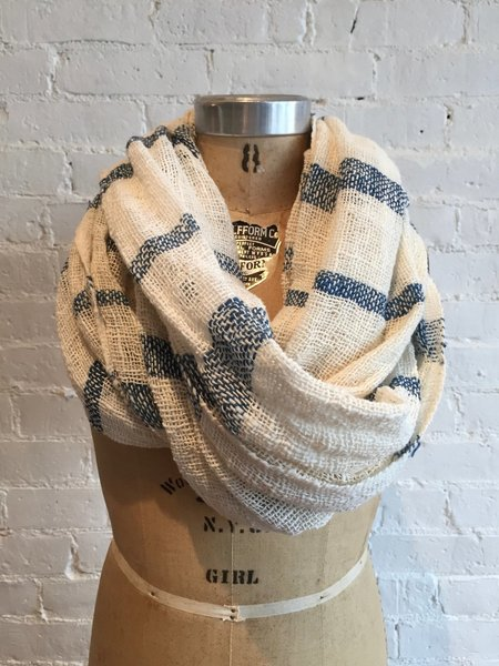 Mimbres Valley Hand Loomed Light Weight Cotton Scarf - Indigo/White