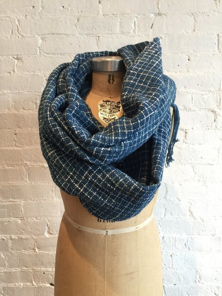Mimbres Valley Hand Loomed Cotton Scarf - Indigo/White