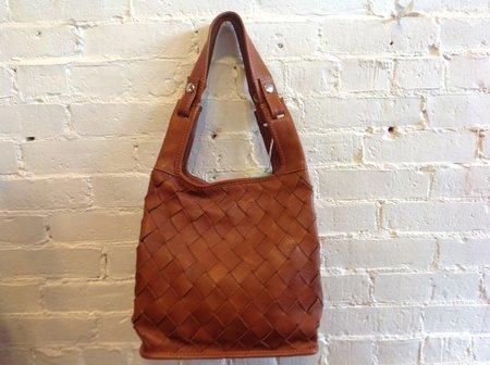Lumi Woven Leather Market Bag - Cognac