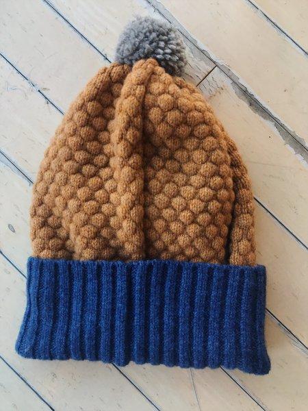 Catherine Tough Lambswool Bobble Hat - Navy/Mustard