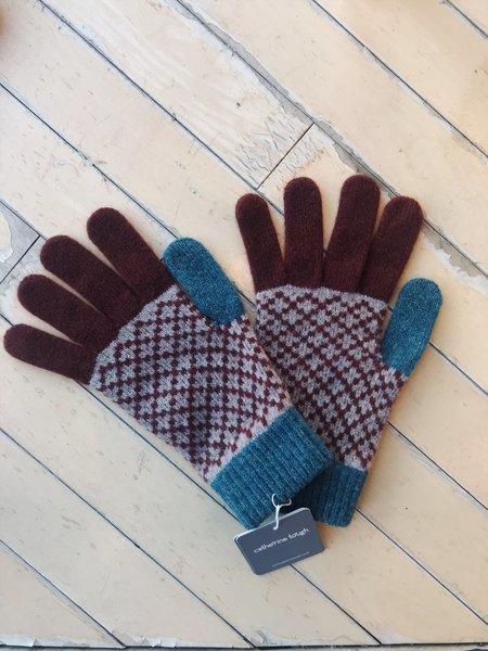 Catherine Tough Merino Lambswool Gloves - Cinnamon/Green Cross