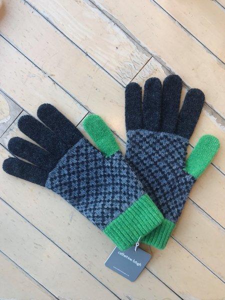 Catherine Tough Merino Lambswool Gloves - Charcoal/Green Cross