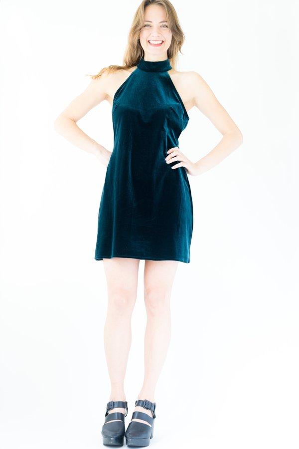 Backtalk PDX Vintage 90's Velvet Holiday Dress - Green