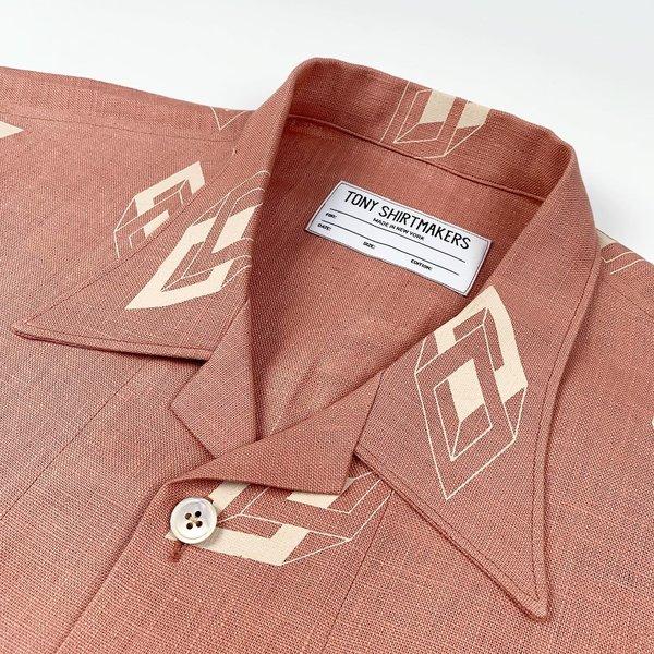 Tony Shirtmakers Linen Shirt - Deco Geometric Print/Blush