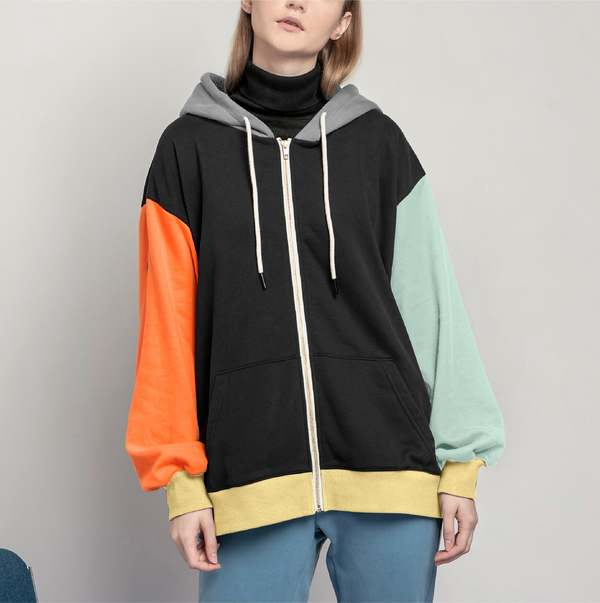 Unisex MATTER MATTERS Colourblock full zip hoodie - Black/Yellow/Orange