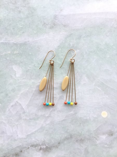 I. Ronni Kappos With Dots Earrings - Cream/Multi Color