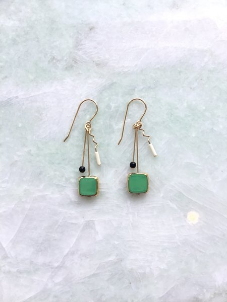I. Ronni Kappos Square Drop w/ Squiggle - Green/Gold