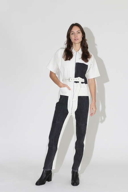 Rachel Comey Handy Jumpsuit - Dirty White/Washed Black Denim