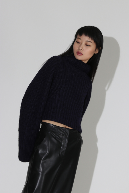 Shaina Mote Crop Knit Turtleneck Pullover - Navy