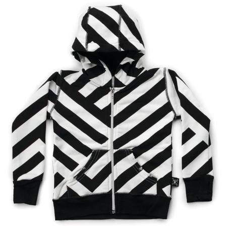 Kids Nununu Striped Zip Hoodie - Black