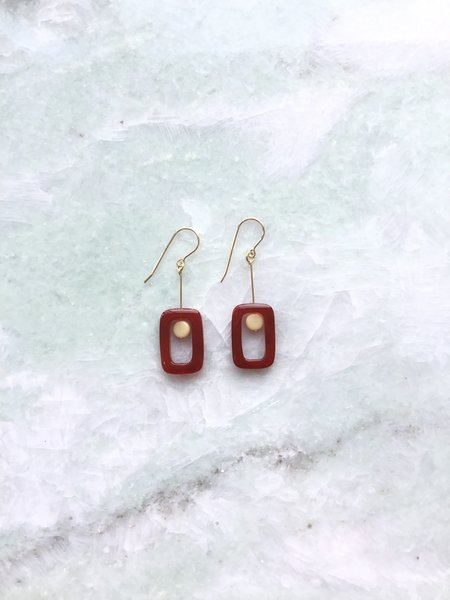 I. Ronni Kappos Window With Bead Earrings - Amber/Cream