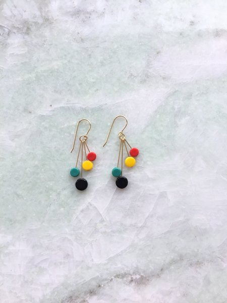 I. Ronni Kappos Bright Tablet Cluster Earrings