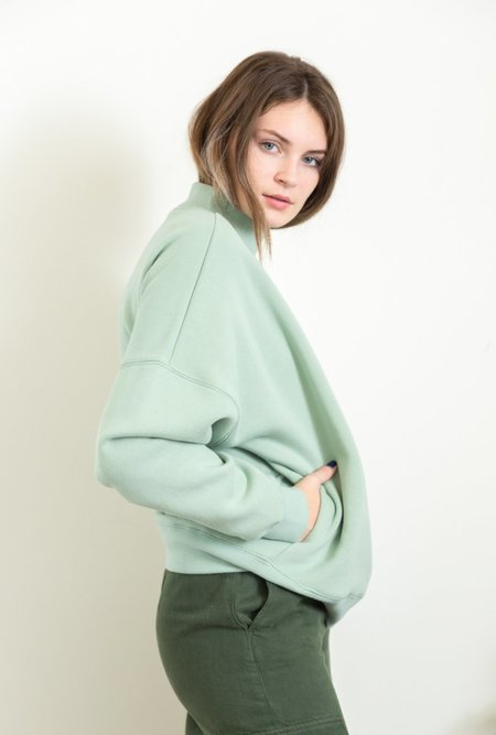 Azalea Jules Mock Neck Sweater - SAGE