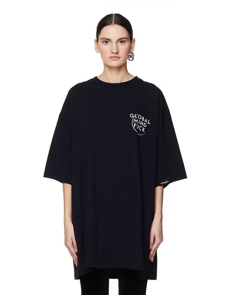 Vetements Printed Cotton T Shirt - BLACK