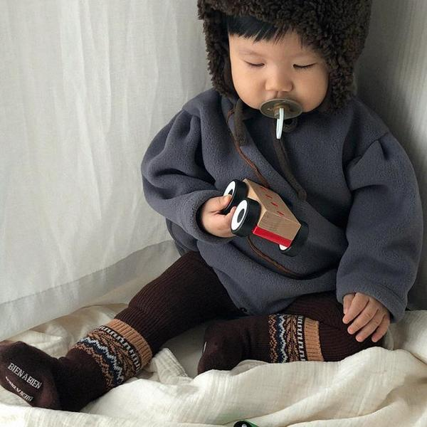 KIDS Tambere Fleece Bodysuit - Charcoal Grey