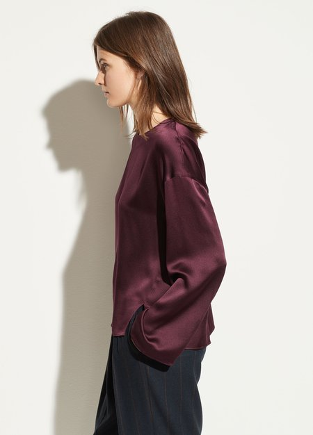 Vince Satin Seamed Front Blouse - Dahlia Wine