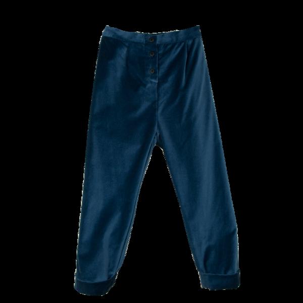 Kids Popelin Velvet Trousers - Blue