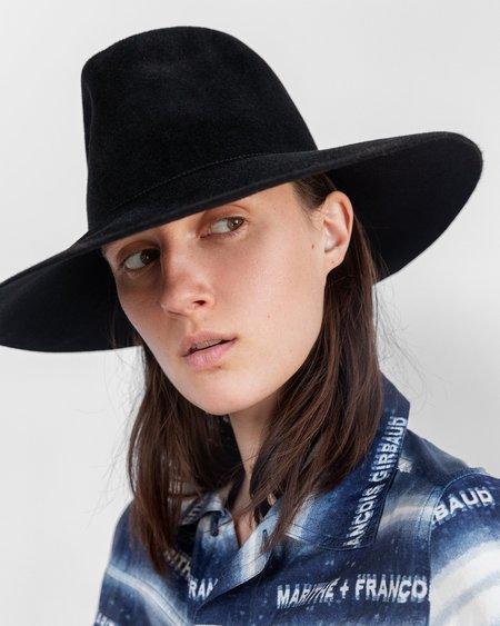 Clyde Wide Brim Angora Pinch Hat - Black