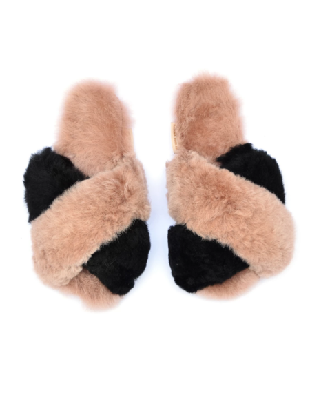 Ariana Bohling Criss Cross Alpaca Slipper - Black/Blush