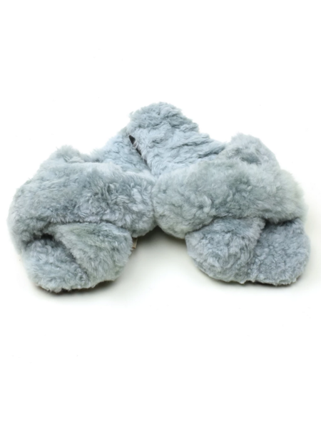 Ariana Bohling Criss Cross Alpaca Slipper - Grey
