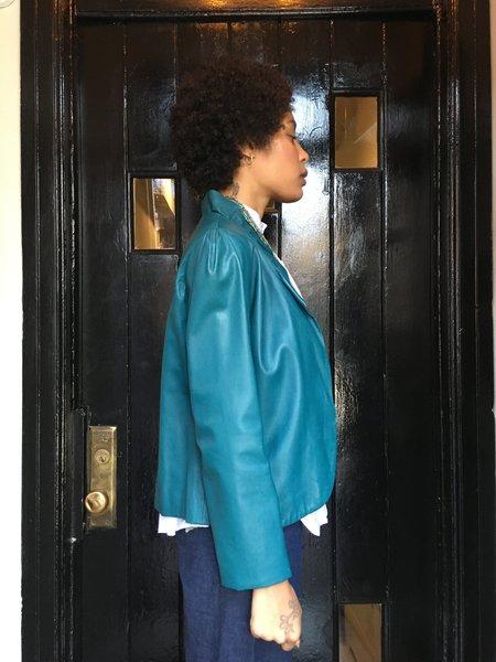 KC Vintage Giorgio Sant Angelo Leather Jacket - Teal