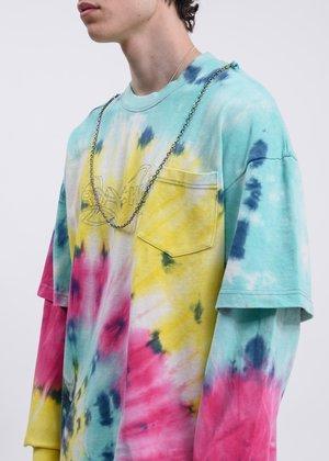 Black Lux Reflective Long Sleeve t-shirt - Blue Tie Dye