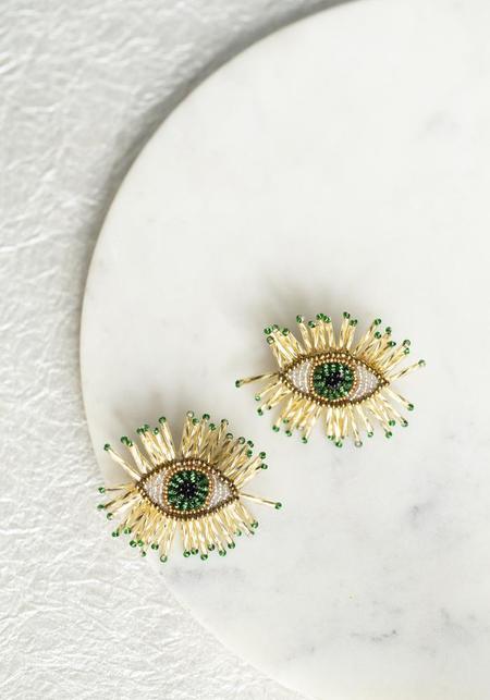 Olivia Dar Sparkle Eyes Earrings - Green