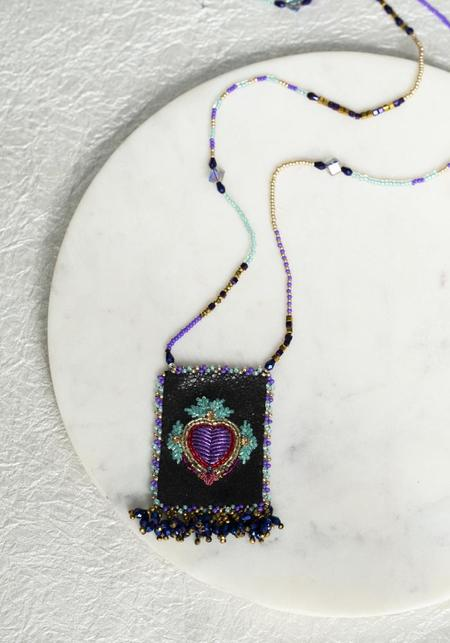 Olivia Dar Mexican Heart Talisman Pouch Necklace