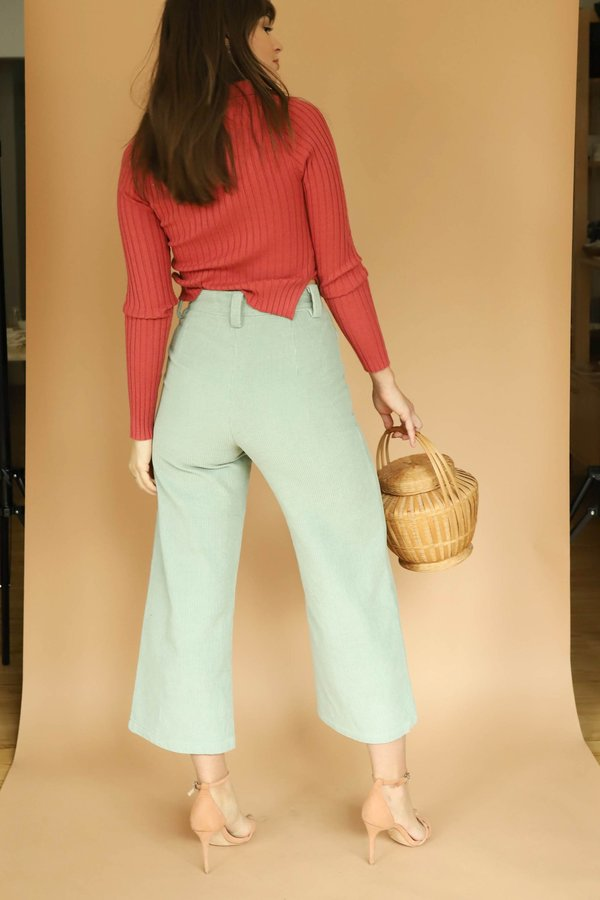 Charlie Holiday Corduroy Crop Pants - Sea Foam