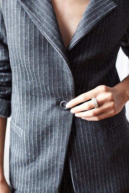 ARIELLE Ixchel Recycled Wool Blazer - RECYCLED SLATE PINSTRIPE