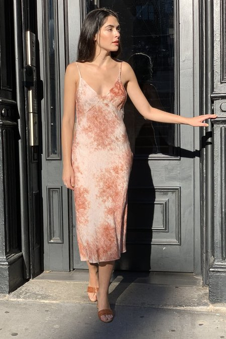 LACAUSA MOONSTONE SLIP DRESS - coral wash