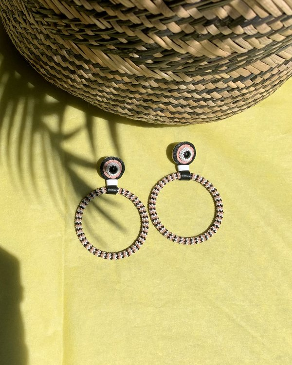 Robin Mollicone LARGE BEADED HOOP EARRINGS - Pink/Black/White Stripe