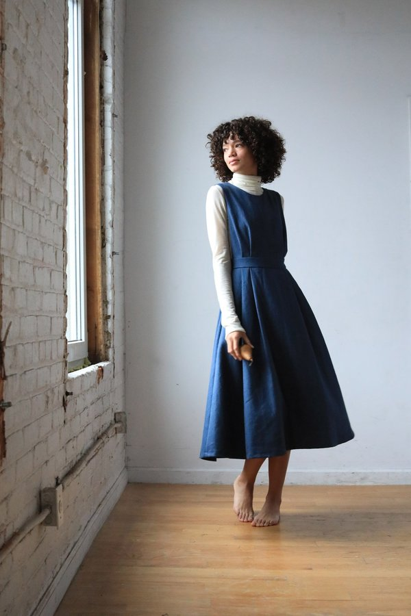 ARIELLE Dajana Pinafore Irish Linen dress - INDIGO