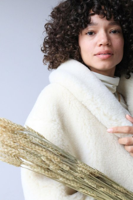 ARIELLE Medea Vegetarian Shearling Coat - NATURAL