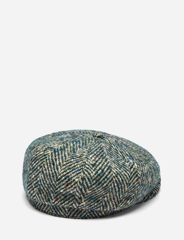 Stetson Hatteras Colour Neps Wool Herringbone Flat Cap - Green